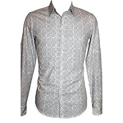 Chemises homme slim fit blanches à motif
