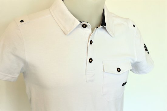 Polo de qualité blanc avec poche pour homme