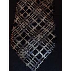 Cravate homme soie noire imprimée gris clair