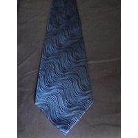 Cravate homme micro noire et bleue