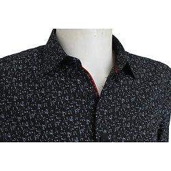 Chemise homme noire et blanche imprimée