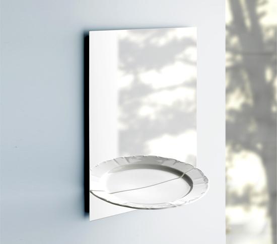 Miroir mural et vide poche halbe portion - Miroir trompe l oeil ...