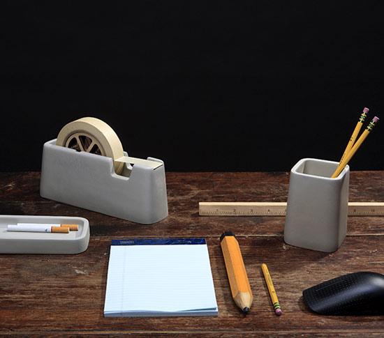 Accesoires De Bureau En Ciment Concrete Desk Set