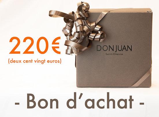 Chèque cadeau d'une valeur de 220 €