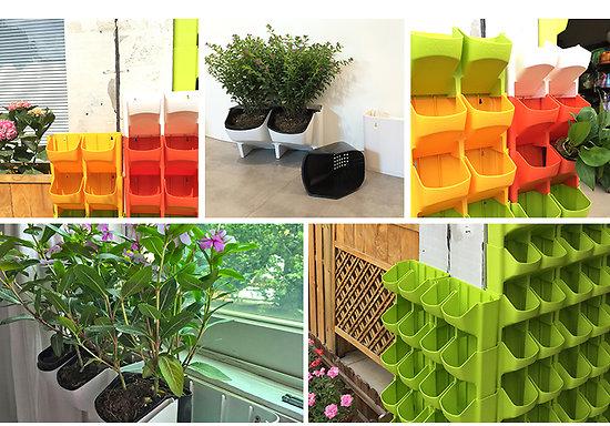 le mur potager pots pour balcon empilables. Black Bedroom Furniture Sets. Home Design Ideas