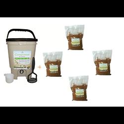 Composteur de cuisine 20L  Ecovi® + 4 x 1kg d' activateur
