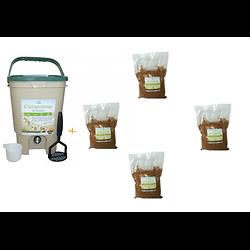 Composteur de cuisine 20L  Ecovi® + 4 x 1kg d' activateur Bokashi