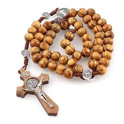 Saint benoît médaille Antique en bois chapelet colliers croix pendentif