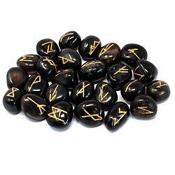 Pierres Runiques Onyx noir avec pochon imprimé