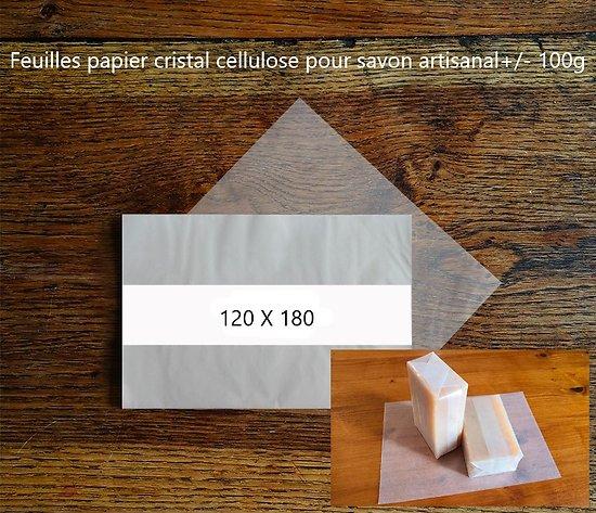 Feuilles papier cristal neutre cellulose pour savon artisanal+/- 100g