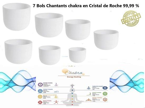 7 Bols Chantants chakra en Cristal de Roche 99,99 %