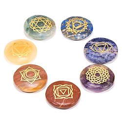 7 Pierres dures rondes plates symboles chakra