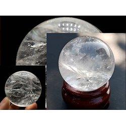 Quartz naturel clair pierre de roche cristal blanc  sphère boule
