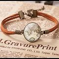 Bracelet Vintage Globe en cuir, carte du monde, Cabochon en verre rond.