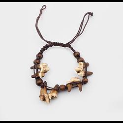 Bracelet Tribal brun vrai os dent de loup dents
