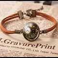 Bracelet Vintage Temps en cuir, carte du monde, Cabochon en verre rond.