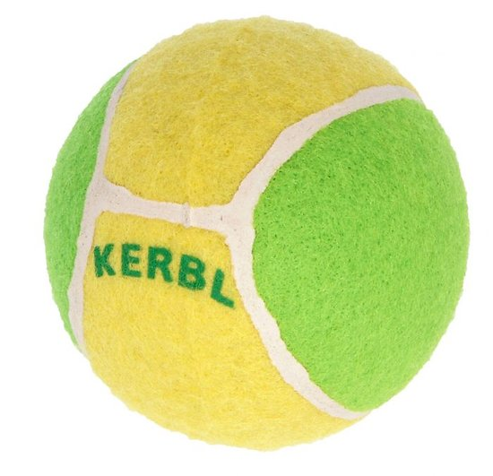 Jouet balle de tennis jaune et verte pour chien