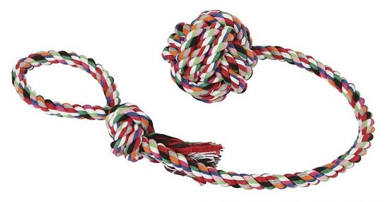 Balle sur corde en coton 53 cm pour chien