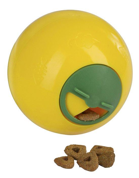 Balle à friandises jaune de 7,5 cm pour chat
