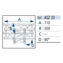 ANGLE 3D CARRE 290 ALU EN T