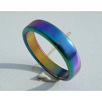 Bague Alliance Hématite Couleur Changeante Multicolore Arc en Ciel Aimantés Magnétique