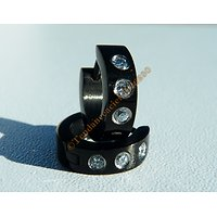 Boucles d'Oreilles Créoles 4 mm Pur Acier Inoxydable Noire 3 Zc Cz Strass