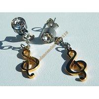 Boucles d'Oreilles Pendantes Acier Inoxydable Clé De Sol Plaqué Or Zirconia Strass 7 mm