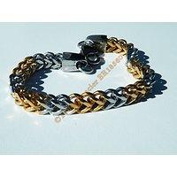 Bracelet 21 cm Argenté et Plaqué Or Maille Royale Serpentine Cube 6 mm Pur Acier Inoxydable