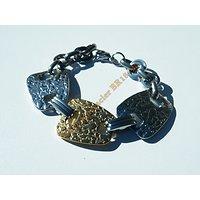 Bracelet 20 cm Argenté Or Trio Ceinturon Martelé Vintage Géométrique Pur Acier Inoxydable