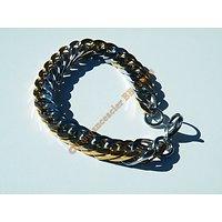Bracelet 23 cm Duo Argenté Plaqué Or Maille Gourmette Large 11 à 12 mm Pur Acier Inoxydable