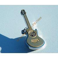 Pendentif Guitare Musique Pur Acier Inoxydable Plaqué Or 1 Grand Zirconium Strass Diamant
