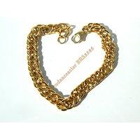 Bracelet 23 cm Maille Double Gourmette 8 mm Pur Acier Inoxydable Doré Plaqué Or Ajustable