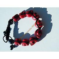 Bracelet Hématite Tibetain Shamballa Ajustable 9 Skull Tetes de Mort Rouge Sang Mortel