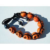 Bracelet Hématite Tibetain Shamballa Ajustable 9 Skull Tetes de Mort Orange Yin Yang Zen