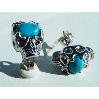 Boucles d'Oreilles Clou Pur Acier Inoxydable Argenté Duo Tete de Mort Skull Sertie Bleu Turquoise
