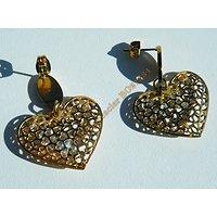 Boucles d'Oreilles Clou Pur Acier Inoxydable Plaqué Or Cœur Cage 4 Diamant Strass Libre Saint Valentin