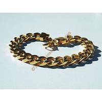 Bracelet  22 cm Pur Acier Inoxydable Doré Plaqué Or Maille Gourmette 9,5 mm