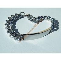 Bracelet 20 cm Argenté Pur Acier Inoxydable Maille Gourmette 10 mm  Plaque A Graver