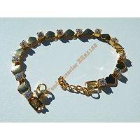Bracelet 20 cm Love Maille Coeur Doré Plaqué Or Sertie Diamant Strass Pur Acier Inoxydable