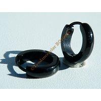 Boucles d'Oreilles 13 mm Créoles Pur Acier Inoxydable Black Noir Bombée 3 mm