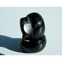 Boucles d'Oreilles 13 mm Créoles Pur Acier Inoxydable Black Noir Bombée 6 mm