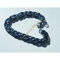 Bracelet 20 cm Argenté Pur Acier Inoxydable Maille Royale 9 mm