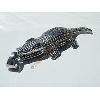 Pendentif Crocodile Caiman Alligator Argenté Pur Acier Inoxydable + Chaine