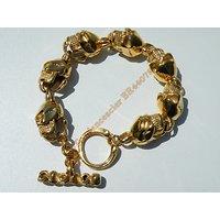 Bracelet 7 Tetes de Mort  Large15 mm Skull  Gothique Pur Acier Inoxydable Doré Plaqué Or 23 cm