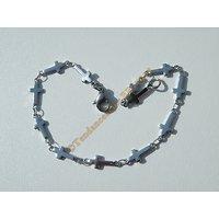 Bracelet Maille Croix Religion Catholique Jésus 10 mm Pur Acier Inoxydable Argenté 20 cm