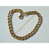 Bracelet Maille Gourmette 7 mm Pur Acier Chirurgical  Inoxydable Doré Plaqué Or 21 cm