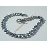 Bracelet Maille Gourmette 5 mm Pur Acier Chirurgical Inoxydable Argenté 19 cm