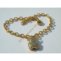 Bracelet 20 cm Maille Forçat 4 mm Pur Acier Chirurgical Inoxydable Doré Plaqué Or Pendant Ours 3D