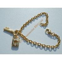 Bracelet 20 cm Maille Forçat 4 mm Pur Acier Chirurgical Inoxydable Doré Plaqué Or Pendant Clé Cadenas 3D