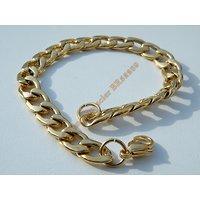 Bracelet 22 cm Maille Gourmette 9 mm Pur Acier Chirurgical  Inoxydable Doré Plaqué Or